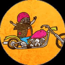Biker On A Chopper Motorcycle Cute Sticker