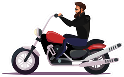Biker On Motorcycle Illustration Sticker