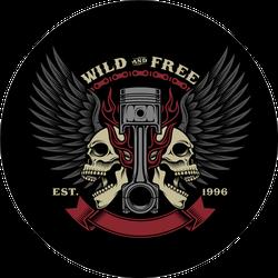 Biker Skull Emblem Illustration Sticker