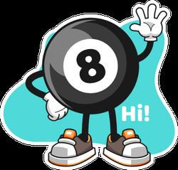 Billiard Ball Number 8 Wave Hand Cartoon Sticker