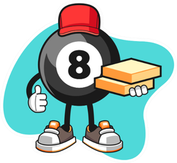 Billiard Ball Number Pizza Delivery Cartoon Sticker