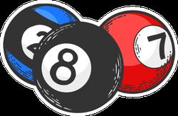 Billiard Balls Illustration Sticker