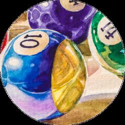 Billiard Balls In A Pool Table Sticker