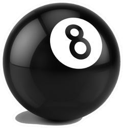 Billiard Eight Ball Isolated On A White Sticker