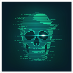 Binary Code Green Skull Sticker