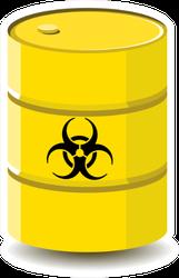 Biological Hazard Or Biohazard Barrel Yellow Sticker