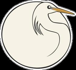 Bird Ball: Chinese Crane Illustration Sticker