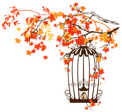 Bird Cage Among Autumn Tree Branches Sticker