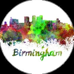 Birmingham Skyline In Watercolor Splatters Alabama Sticker