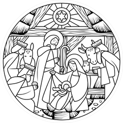 Birth of Jesus Line Art Sticker