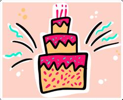 Birthday Cakes Hand Drawn Sticker