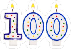 Birthday Candles Number One Hundred Sticker