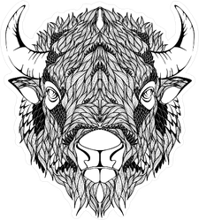 Bison Buffalo Head Sticker