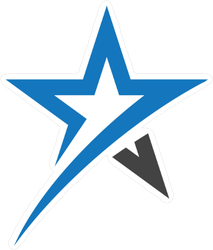 Black and Blue Star Sticker