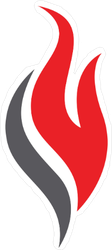 Black and Red Flame Sticker