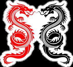 Black And Red Tribal Dragon Tattoo Sticker
