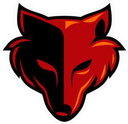 Black and Red Wolf Head Mascot Sticker