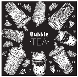 Black and White Bubble Tea Sticker