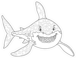 Black And White Cartoon Shark Sticker