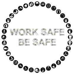 Black And White Construction Work Safe Be Safe Sticker