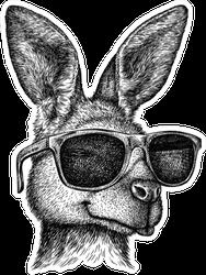 Black And White Engrave Kangaroo Illustration Sticker