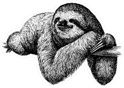 Black And White Engraved Sloth Sticker