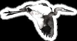 Black And White Monochrome Painting Crane Bird Sticker