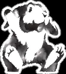 Black And White Monochrome Painting Rabbit Sticker