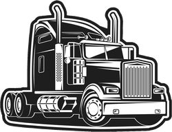 Black and White Semi Truck Sticker