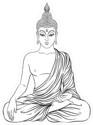 Black And White Sitting Buddha Sticker