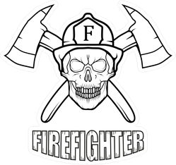 Black And White Skull Firefighter Logo Sticker