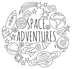 Black And White Space Illustration Sticker
