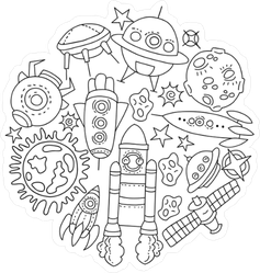 Black And White Space Line Art Sticker