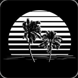Black And White Stripes Palm Tree Sticker