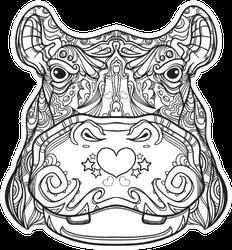 Black And White Version Of Ornament Hippo Sticker