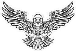 Black And White Woodcut Style American Bald Eagle Sticker