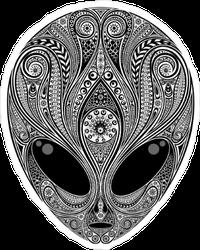 Black and White Zentangle Alien Head Sticker
