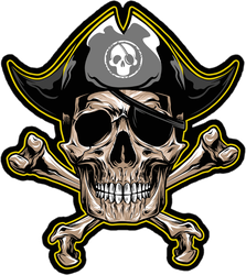 Black and Yellow Jolly Roger Sticker