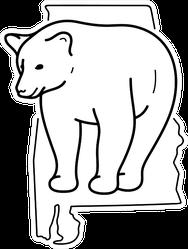 Black Bear Alabama State Symbol Outline Icon Sticker