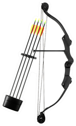 Black Bow And Plastic Arrows On White Sticker