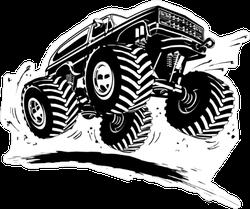 Black Cartoon Monster Truck Sticker