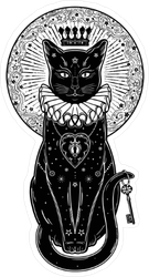 Black Cat Portrait With Key Sticker