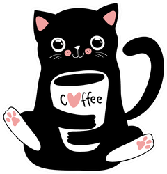 Black Cat With Coffee Cup Sticker
