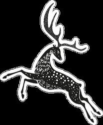 Black Christmas Deer Sticker