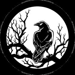Black Crow Sitting At Night On A Tree Branch Sticker