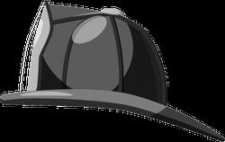 Black Fireman Helmet Side View Sticker