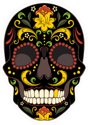 Black Gold Tooth Day Of The Dead Sugar Skull Sticker