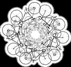 Black Grunge Bikes In Circle Sticker