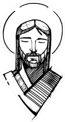 Black Hand Drawn Jesus Face Sticker