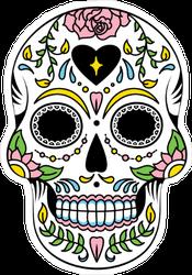 Black Heart Mexican Floral Sugar Skull Sticker